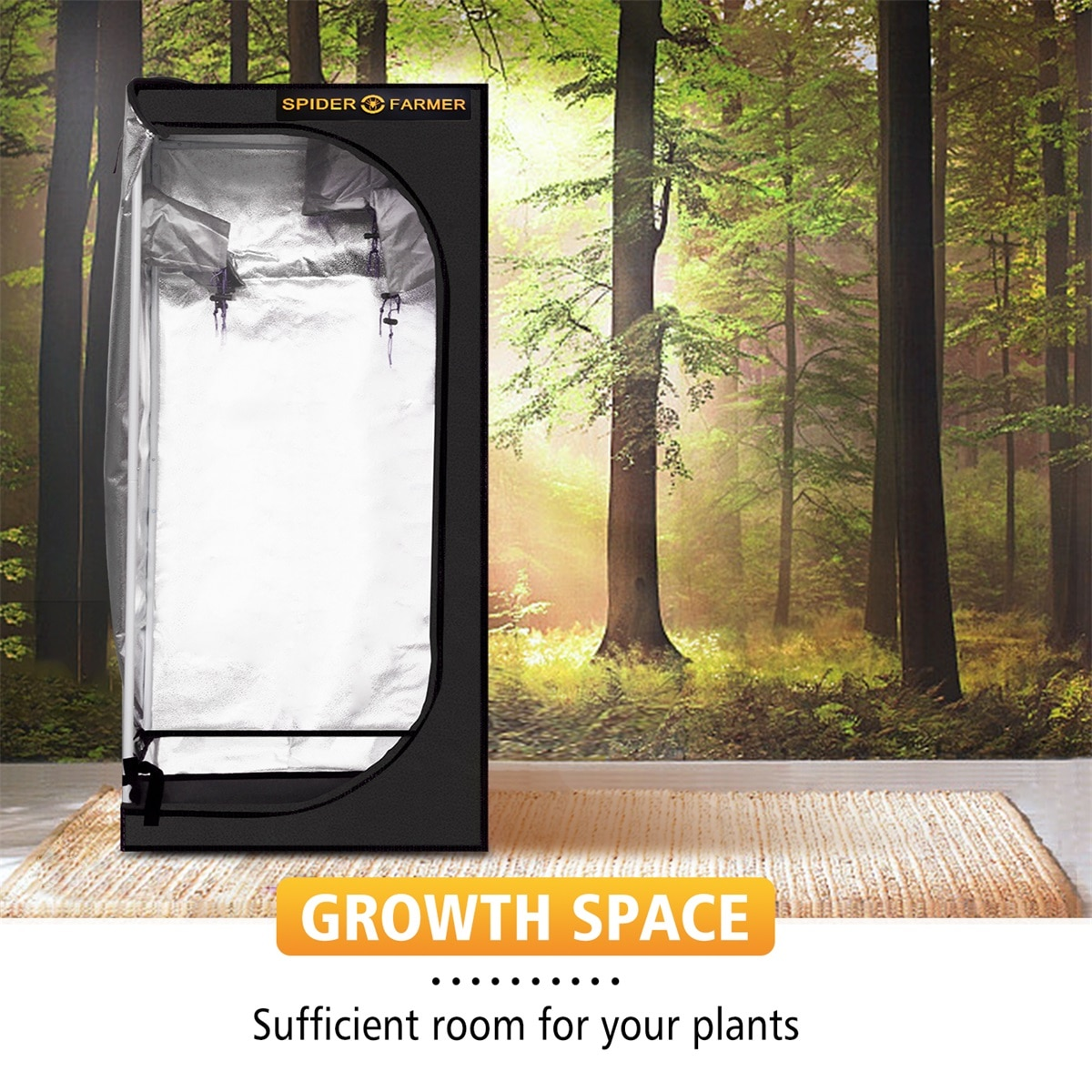Spider Farmer 90x90x180cm Grow Tent For Led Grow Light, Grow Room Box Plant Growing, Reflective Mylar Non Toxic Garden House enlarge