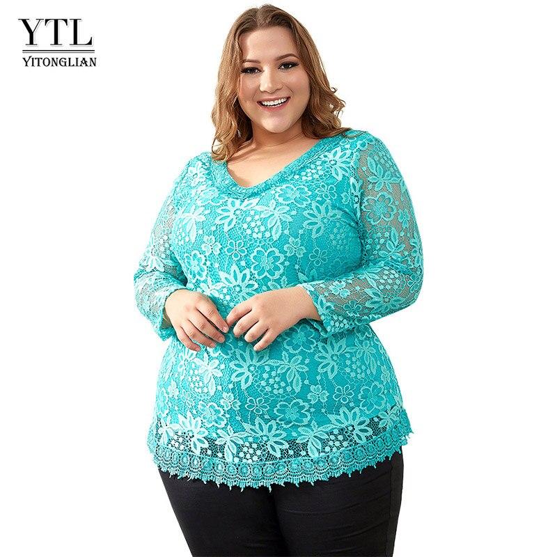 Yitonglian Elegant Plus Size Women Floral Lace Blouse Vintage V Neck Delicate Crochet Tops US Size 8-30 H009G