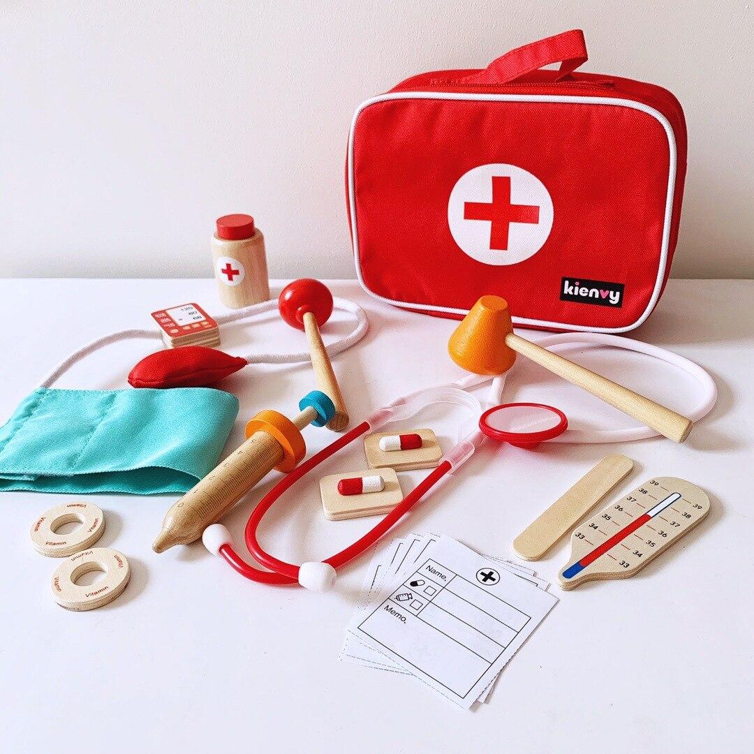 Игрушки-симуляторы доктора, наборы для ролевых игр медсестры, детские деревянные медицинские аксессуары, наборы сумок, подарок для девочек ...