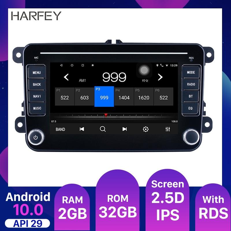 "Harfey 7"" Android 10.0 API29 2GB Car Radio Multimedia For Universal VW SEAT LEON Golf Passat b5 b6 CC Sharan Polo Skoda Magotan"