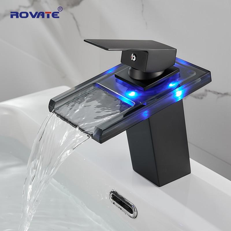 ROVATE الحمام بالوعة LED الزجاج صنبور ، RBG 3 ألوان ضوء شلال وحيد مقبض ثقب واحد صنبور حوض خلاط/صنبور (ماتي الأسود))