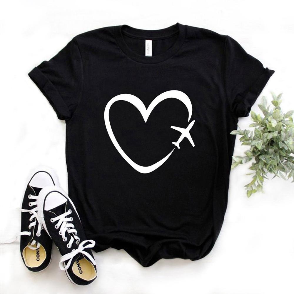 Camiseta Casual de algodón con estampado romántico de corazón de avión de viaje, divertida camiseta de regalo para chica Yong