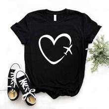 Travel plane heart love Print Women tshirt Cotton Casual Funny t shirt Gift Lady Yong Girl Top Tee