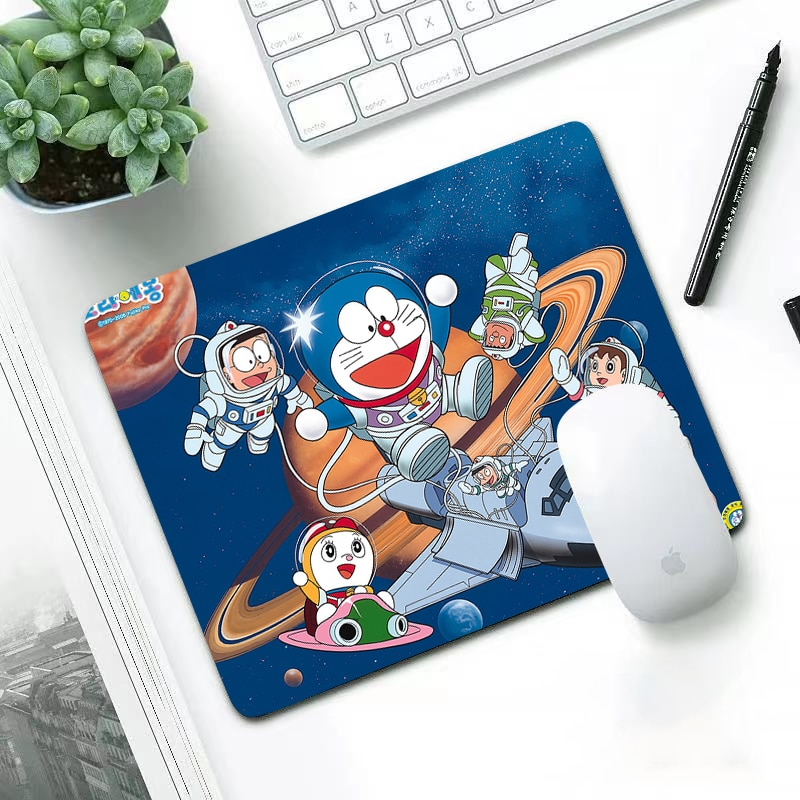 Luxury New Arrivals lovely wear-resisting small 29x25cm office leisure edge anti slip washable laptop game mouse pad Doraemon enlarge