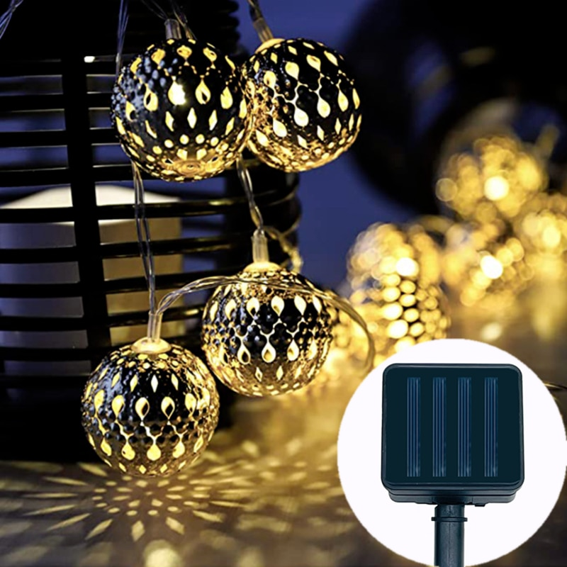 Уличная светодиодная гирлянда на солнечной батарее, светодиодная сказосветильник гирлянда, свадебное Рождественское украшение, гирлянсве...