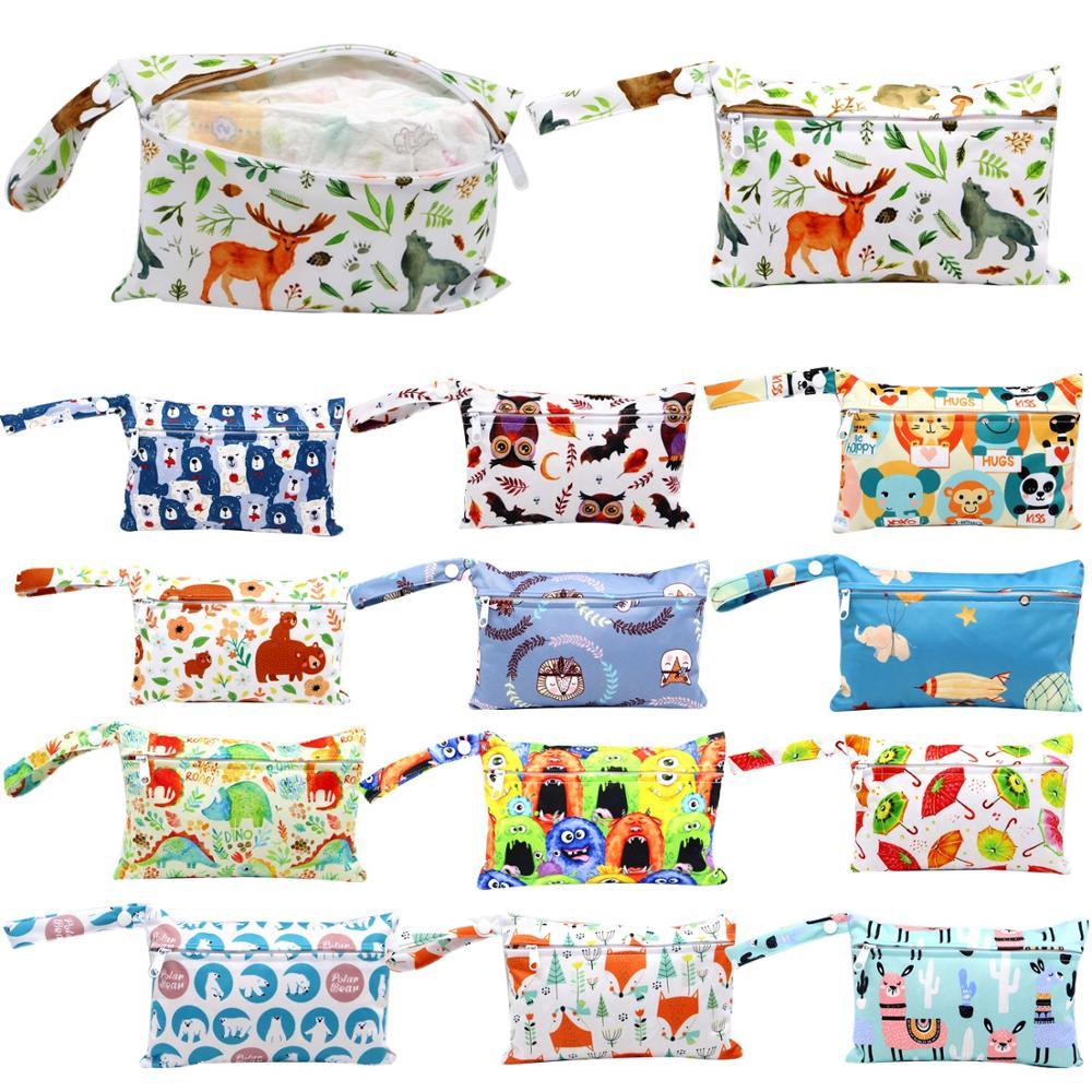 Mini Wet Bag Reusable For Nursing Menstrual Pads Waterptoof PUL Snap Handle Wetbag Maternity Diaper Bag Stroller Bags 15*22.5cm