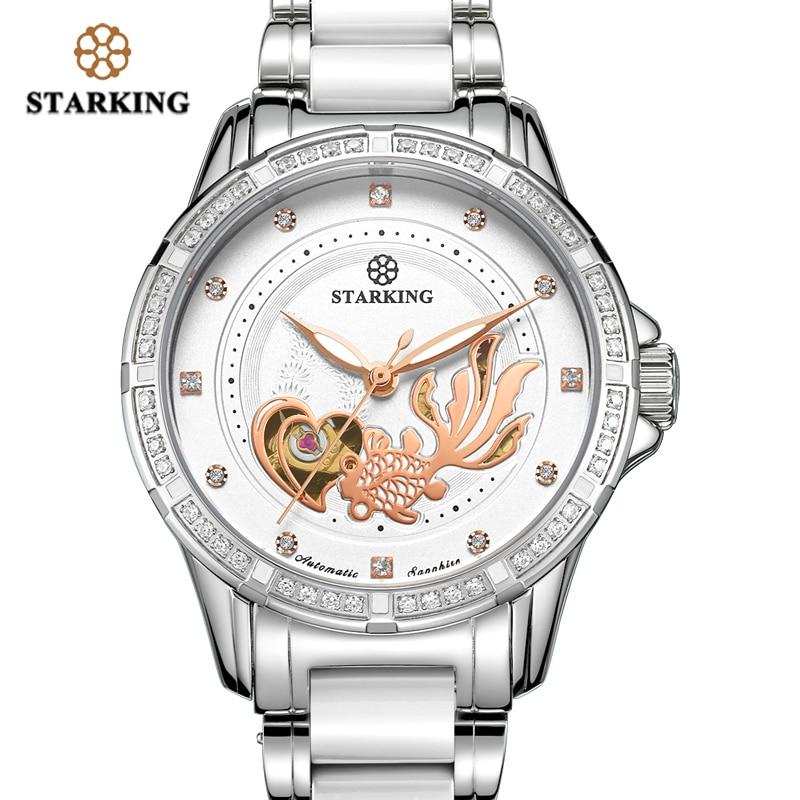 STARKING Mechanical Watch Women Automatic Skeleton Fashion Ladies Dress Watch With Rhinestone White Ceramic Wristwatches Relogio enlarge