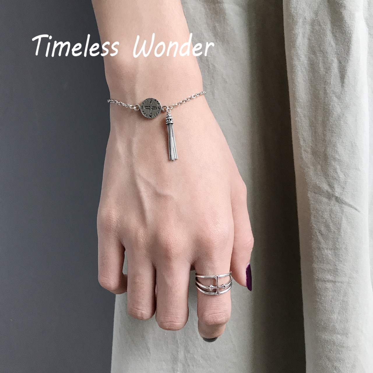 Timeless Wonder 925 Sterling Silver Retro tassel cross coin Charm Bracelet Women Jewlery Punk Gothic Gown Gift Ins Boho 5597