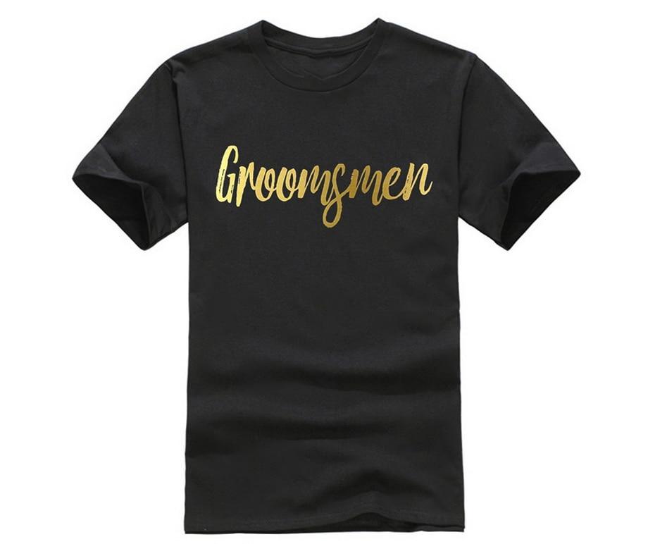 Camiseta para padrinos de boda de papel de aluminio dorado para hombre