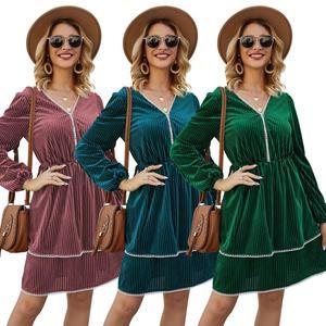 Whzhm Layered Dresses Women Autumn Boho Long Sleeve V-neck A-line Vestidos Feminina Pleated Hem Green Lace Patchwork Ladies