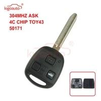kigoauto denso not valeo car remote key fob 3 button toy43 304mhz 4c chip for toyota land cruiser fj cruiser 1998 2011