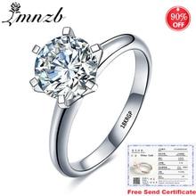 Vendita in perdita! Con certificato anello in oro bianco 18 carati originale anello da donna in argento 925 con diamante da laboratorio da 2,0 ct di lusso LR168