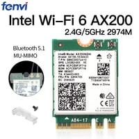 Dual Band Wireless M.2 Wifi6 Intel AX200 2974Mbps Bluetooth 5.1 802.11ax MU-MIMO NGFF Laptop WiFi Card AX200NGW Windows 10