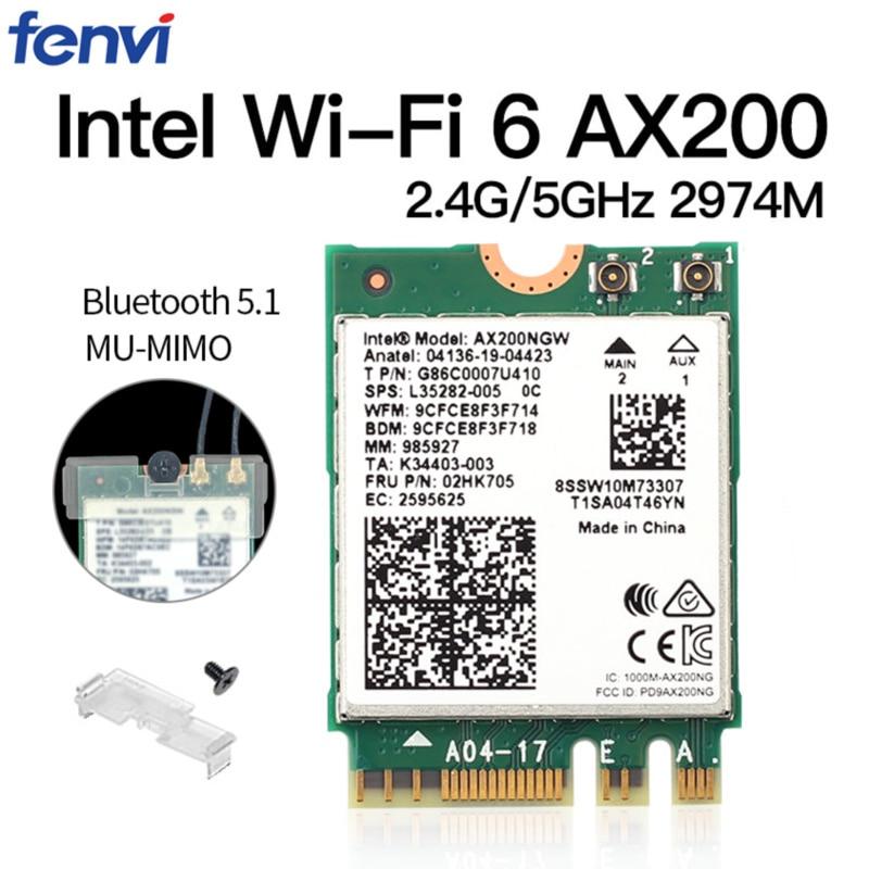 Двухдиапазонный беспроводной M.2 Wifi6 Intel AX200 2974 Мбит/с Bluetooth 5,1 802.11ax MU-MIMO NGFF ноутбук WiFi карта AX200NGW Windows 10