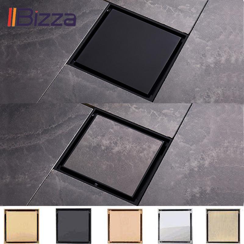 IIBizza Tile Insert Square Floor Waste Grates Bathroom Shower Drain Brushed Floor Drain Antique Fltro Ducha Drain Hair Invisible