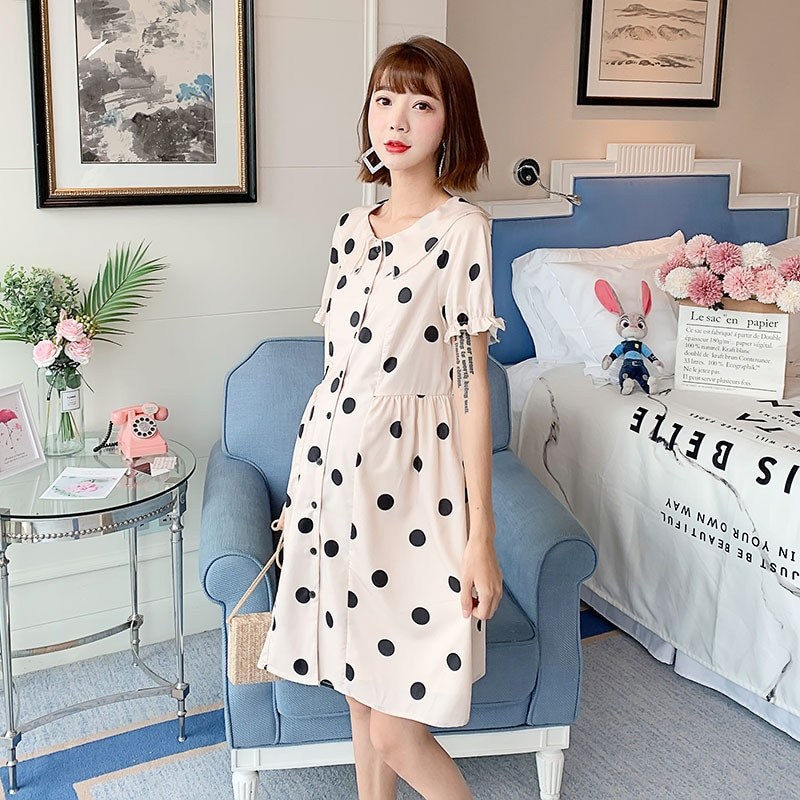Maternity Nursing Blouse Dress Clothes Summer Casual Pregnant Women Chiffon Breastfeeding Dresses Vestidos Pregnancy Clothings enlarge
