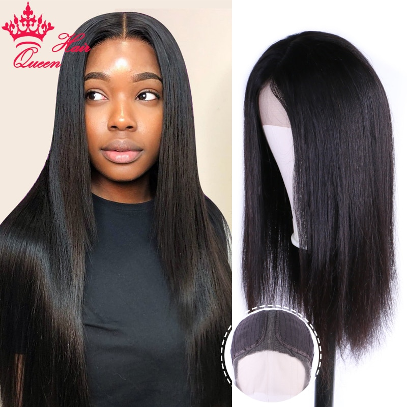 Queen Hair Official Store Straight Front Wigs for Women Lace Front Human Hair Wigs Brazilian Straight T Part Lace Frontal Wig