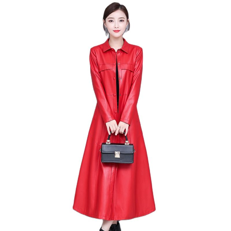 Women vintage faux leather coat long jacket 2021 pu leather trench coat women 2021 long jacket women long Plus size windbreaker