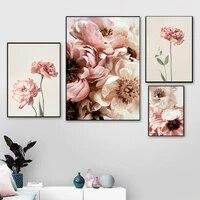 Affiche a fleurs florales  Illustration Botanique  tableau dart mural  pivoine  peinture sur toile pour chambre a coucher  decoration de la maison