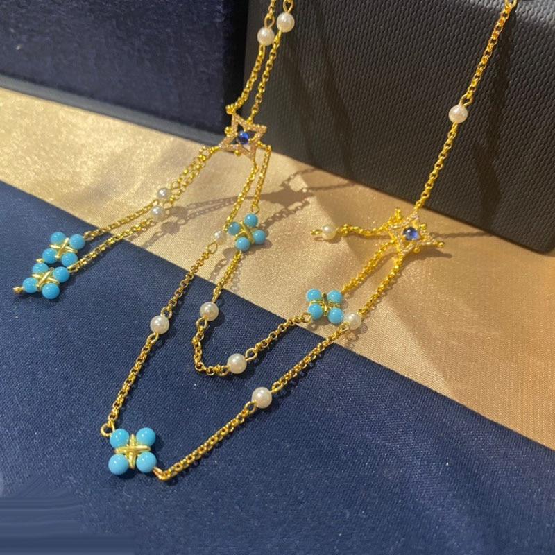 UMGODLY ماركة الموضة قلادة الذهب اللون اللؤلؤ والأزرق جوهرة حجر سلسلة مزدوجة الصليب قلادة المرأة يوليو روما سلسلة مجوهرات هدية
