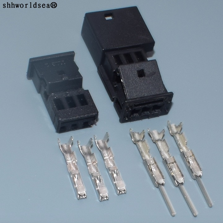Shhworldsea 3 Pin/Way 0,6mm macho hembra Auto Conector estéreo, enchufe de altavoz de coche trible enchufe para BMW 1-968700-1 B/1355620-1