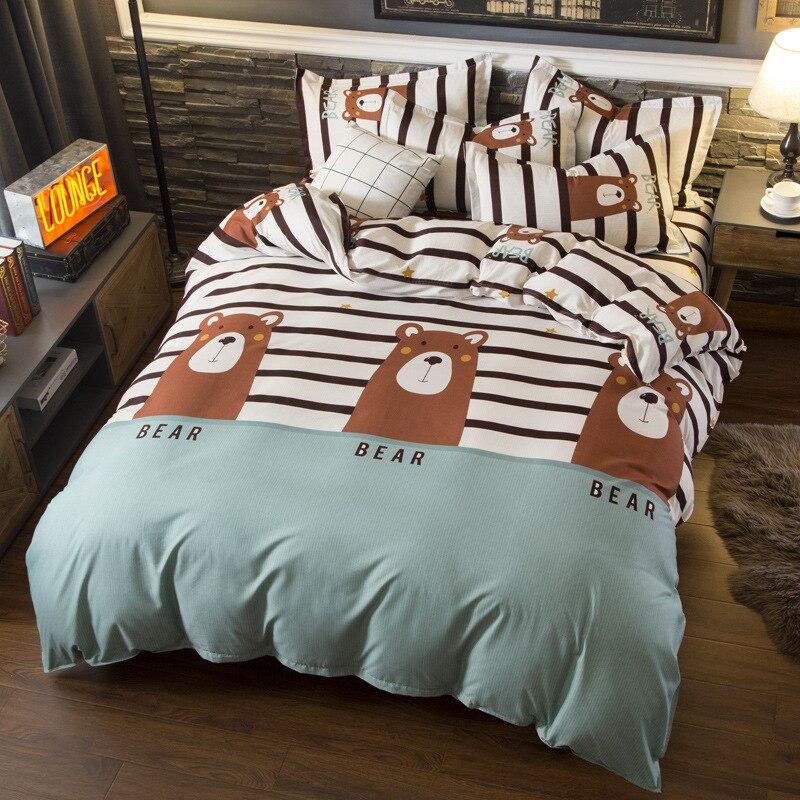 Nordic Einfache Kinder Bett Bettwäsche Weiche Quilt Bettbezug-set Kissenbezug Blatt Cartoon Bär Bettwäsche Set für Erwachsene Bett