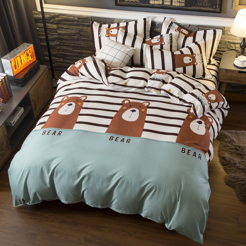Ropa de cama sencilla nórdica para niños, juego de edredón suave, funda de almohada, Sábana de oso de dibujos animados, juego de cama para adultos