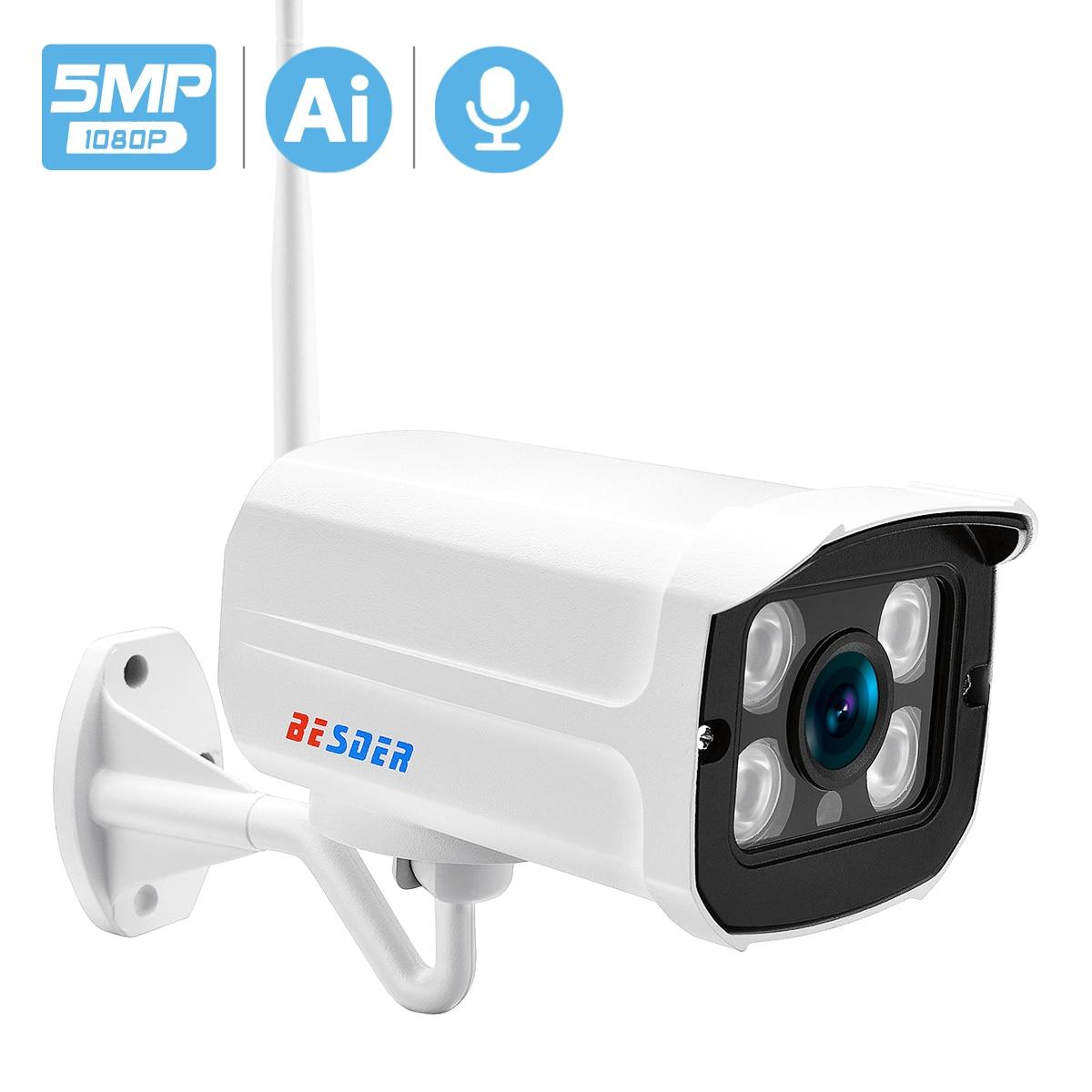 BESDER 5MP 3MP HD الصوت واي فاي كاميرا IP 1080P HD مراقبة الفيديو الأشعة تحت الحمراء للرؤية الليلية CCTV الأمن IP كاميرا TF بطاقة سحابة التخزين