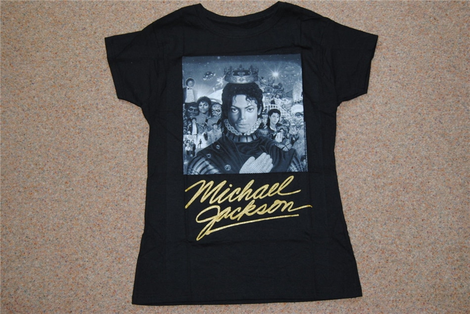 Michael jackson bw capa de ouro assinatura senhoras magras t camisa novo rei do pop camiseta outfit casual