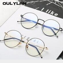 Oulylan ojos de gato redondos Anti-azul hombres mujeres gafas montura clásica marca de diseño de Metal piernas de trabajo protección ojos filtro azul