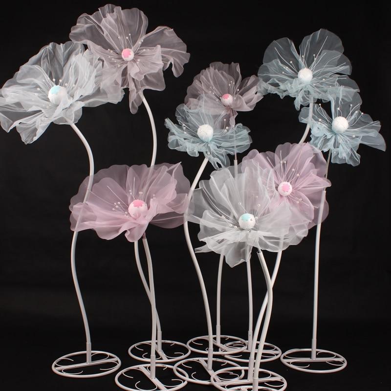 3Pc Set Wedding Props Road Lead Silk Flowers Wedding Stage Layout Decoration Mall Window Display Flower Pole Stereo Yarn Flower