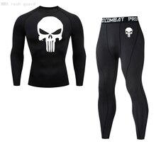 Skull long johns Men Thermal underwear winter Compression underwear Men Clothing Winter First layer