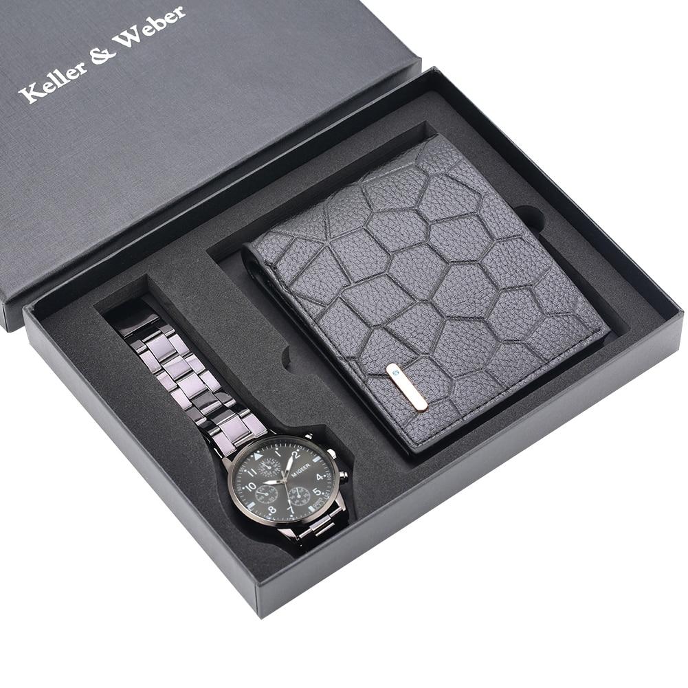 Classic Men Watch PurseSet Quartz Digital Dial Stainless Steel Strap Fold Buckle Leather Wallet Wall
