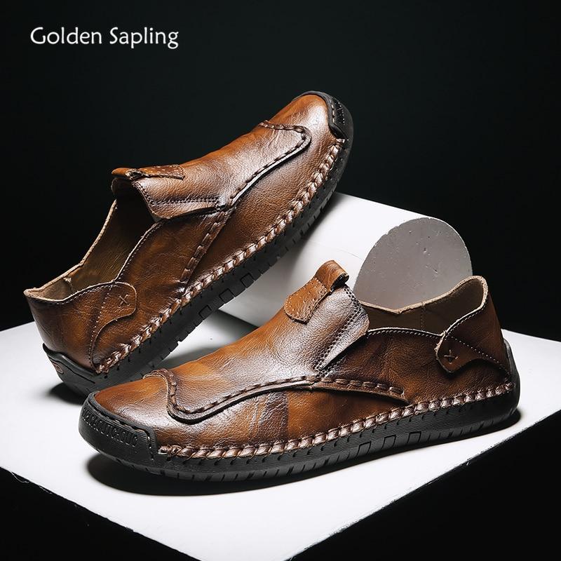 حذاء موكاسين من الجلد الطبيعي مسامي للرجال ، حذاء كاجوال ، مسامي ، نمط عتيق ، عصري ، للصيف