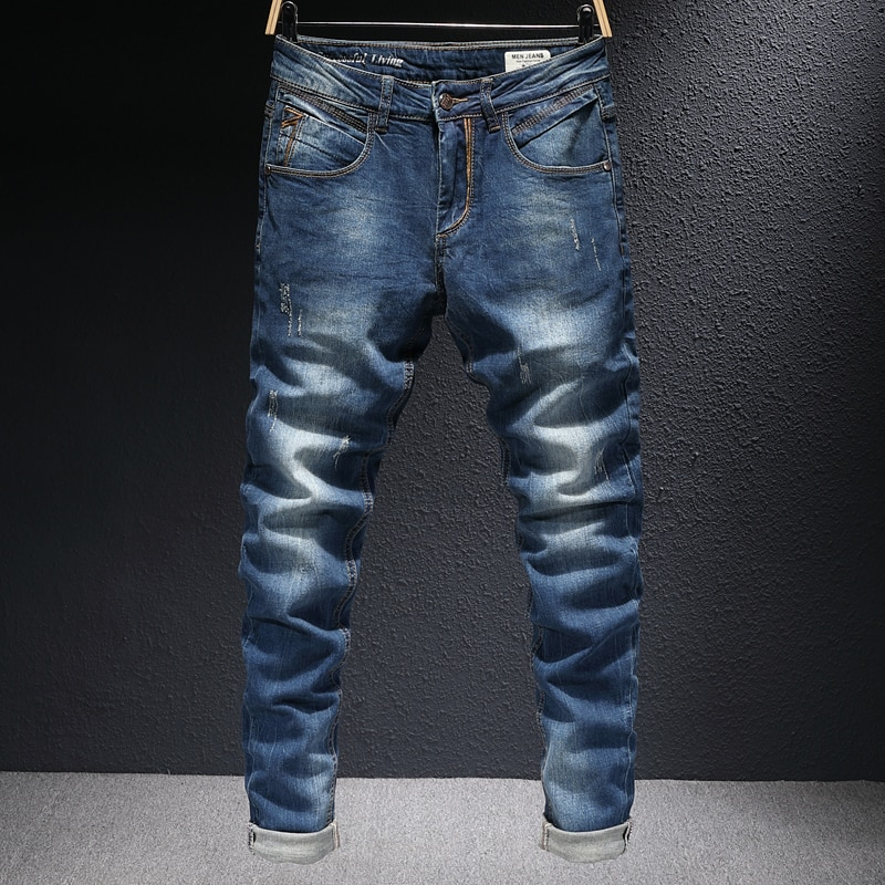 Европейские винтажные модные мужские джинсы ретро темно-синие Эластичные зауженные рваные джинсы мужские уличные дизайнерские Джинсовые ...