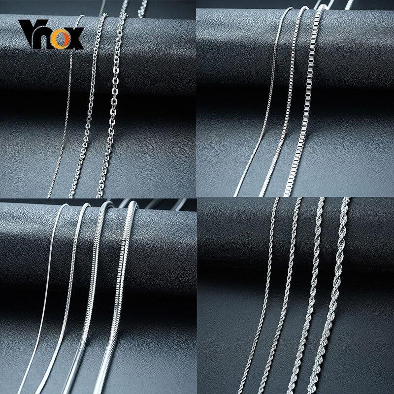 Vnox collares de cadena básica para hombres nunca se decolora tono Acero inoxidable Rolo caja serpiente cadenas collar 18-24 pulgadas