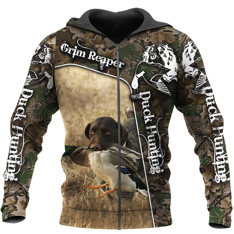 Fashion Personalized Clothing Duck Hunting Camo 3D Printed Zip Jacket Sweatshirt Hoodies Men Women Casual Sportswear men zip camo hooded jacket