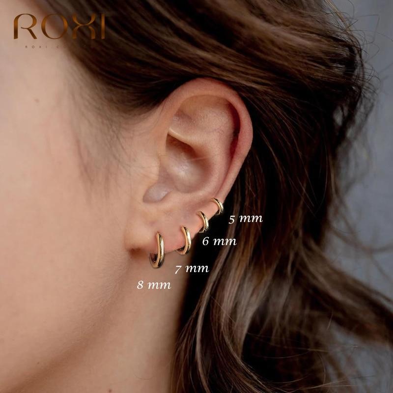 ROXI-Pendientes redondos de geometría para Mujer, aretes redondos de Plata de Ley...