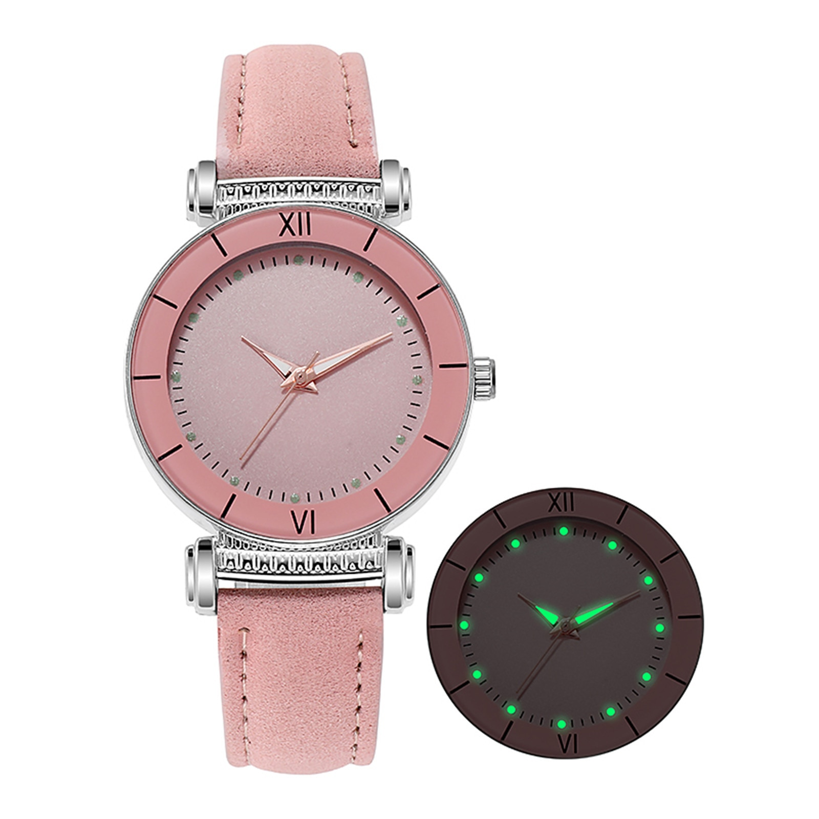 Luxury Luminous Watch For Women Simple Watches Lady Dress Pink Black Brown Leather Wrist Watch Femal