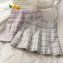 Fresh Plaid Pleated Skirt for Women Sweet College Style 2020 New Small Versatile High Waist A- line