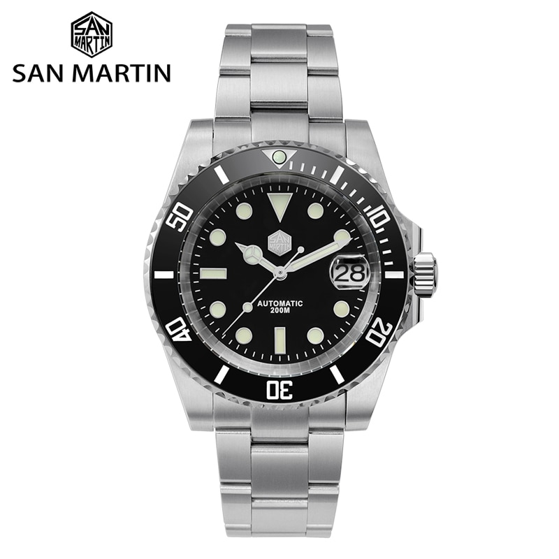 San Martin Diver Water Ghost Luxury Sapphire Crystal Men Automatic Mechanical Watches Ceramic Bezel