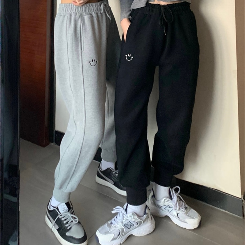 Embroidered Sports Pants Women's Autumn and Winter Ins High Waist Loose Straight Slimming BF Fleece-