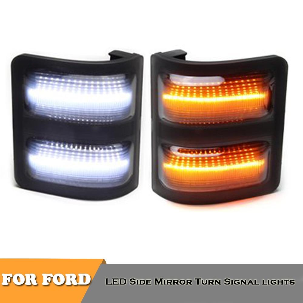 Luces indicadoras de señal de giro con espejo lateral led Amarillo Blanco para Ford F150 F250 F350 F450 F550, accesorios para automóviles