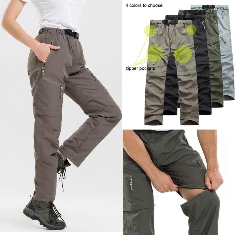 Pantalones de senderismo desmontables para mujer, hombres, invierno, verano, pantalones de secado rápido para hombre, Camping, senderismo, deportes al aire libre, pantalones impermeables pantalones cortos