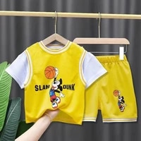 disney cartoon mickey mouse boy clothes set summer kids girl t shirtpants casual basketball sport suit children clothes outfits