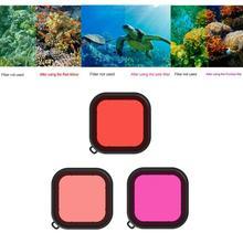 Offre spéciale filtres pour lentilles résistant à lusure 3 pièces filtres de plongée à leau de mer filtre de couleur pour lentille de plongée pour Go Pro HERO 8 noir