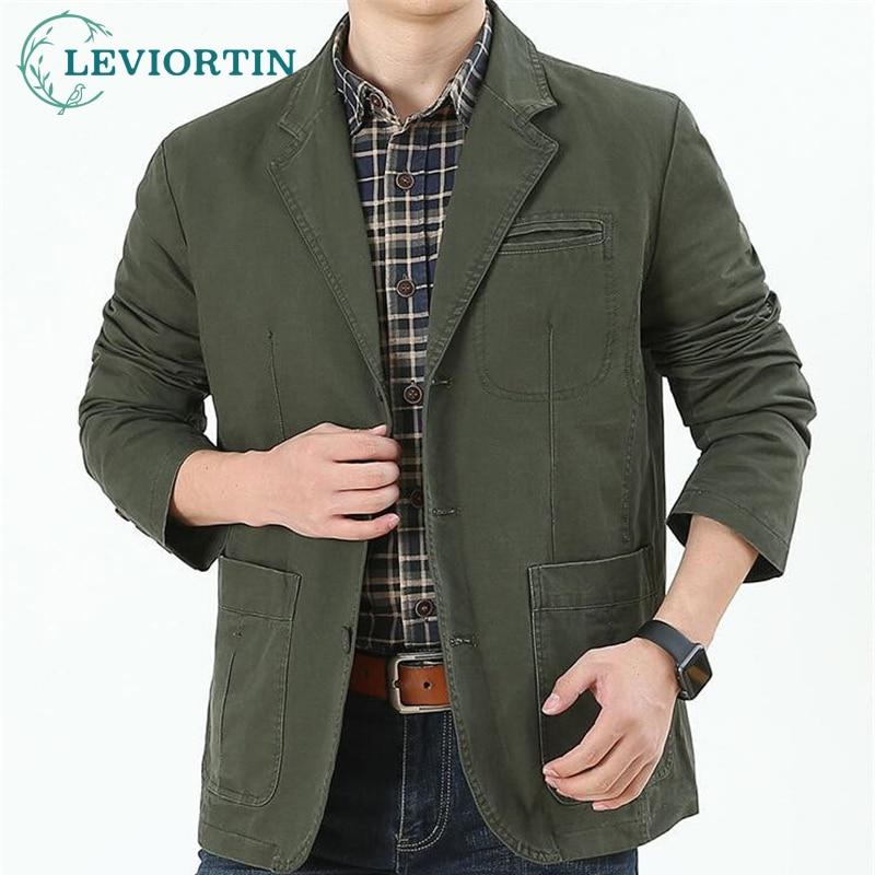 حجم كبير 5XL السترة الرجال سترة عسكرية عادية سليم بدلة عمل معطف القطن مفجر البضائع الستر أبلى Casaco Masculina