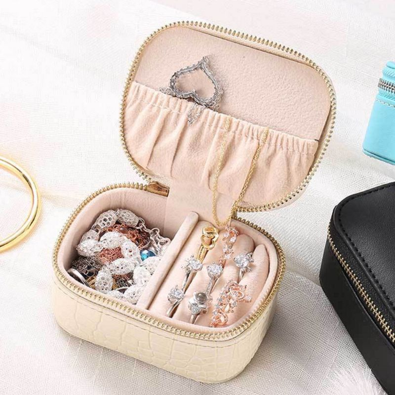 Simple Jewelry Box Faux PU Leather Earrings Necklace Bracelet Storage European Style Portable Travel