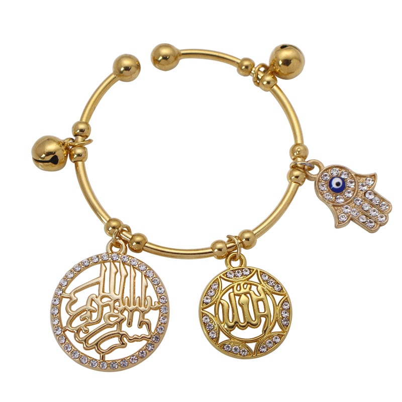 Hamsa mão de fátima o nome de Allah muçulmano o misericordioso Allah Pulseiras de cobre do bebê da criança
