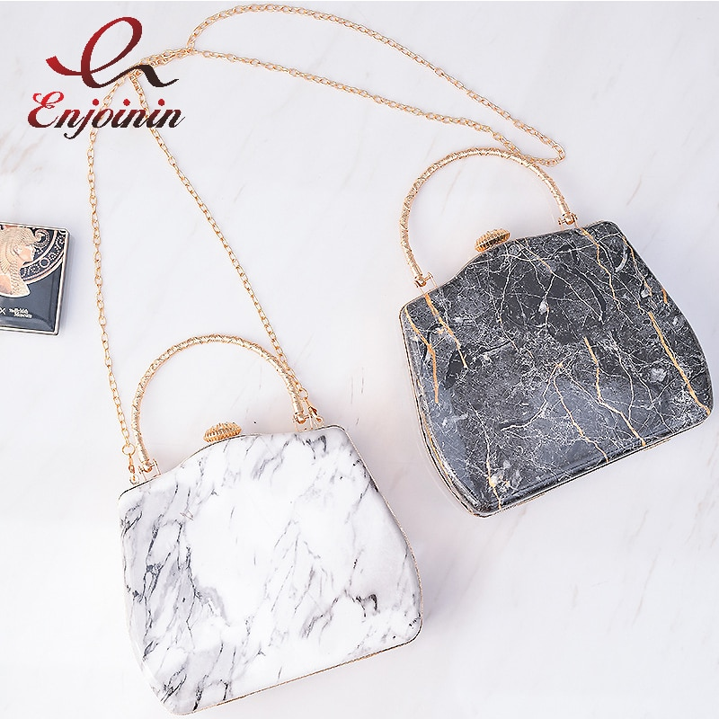 Marble Pattern Box Party Clutch for Women Fashion Purses and Handbags Designer Chain Crossbody Bag F